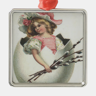 Victorian Girl In Easter Egg Cotton Rose Metal Ornament