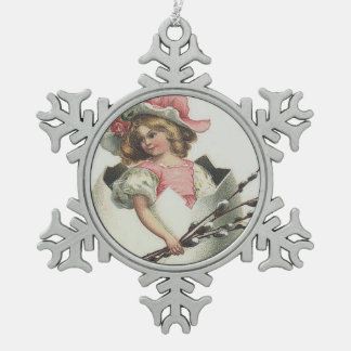 Victorian Girl In Easter Egg Cotton Rose Snowflake Pewter Christmas Ornament