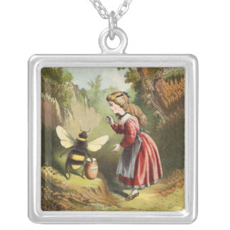 Victorian Girl in Woods Bee Honey Pot Silver Plated Necklace