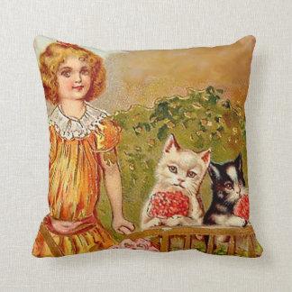 Victorian Girl Kitty Cat Vintage Postcard Art Pillows