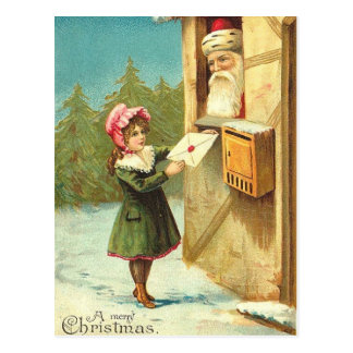 Victorian Girl Mailing Her Letter to Santa Postcard