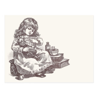 Victorian Girl Medicating Dolly Postcard