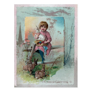 Victorian Girl on Fence With Easter Rabbits Postcard