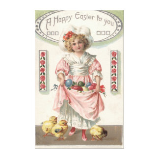 Victorian Girl Painted Colored Easter Egg Rose Canvas Print