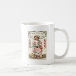 Victorian Girl Painted Colored Easter Egg Rose Coffee Mug
