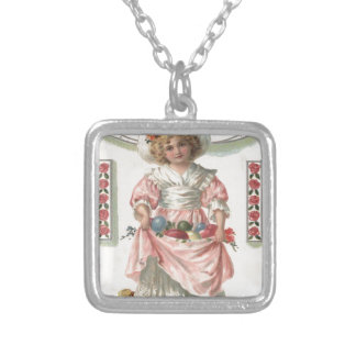 Victorian Girl Painted Colored Easter Egg Rose Silver Plated Necklace