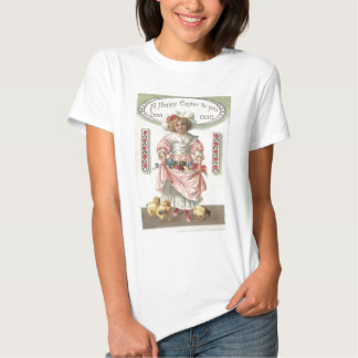 Victorian Girl Painted Colored Easter Egg Rose Tee Shirt
