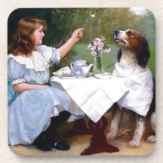 Victorian Girl Pet Dog Table Manners Painting Beverage Coaster