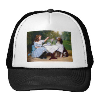 Victorian Girl Pet Dog Table Manners Painting Hat