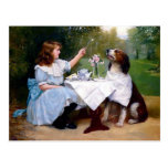Victorian Girl Pet Dog Table Manners Painting Post Card