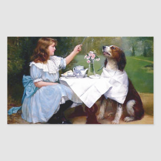 Victorian Girl Pet Dog Table Manners Painting Rectangular Sticker