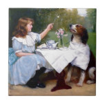 Victorian Girl Pet Dog Table Manners Painting Ceramic Tile