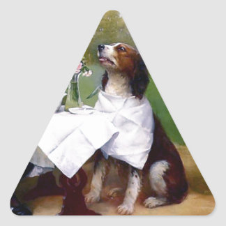 Victorian Girl Pet Dog Table Manners Painting Triangle Sticker