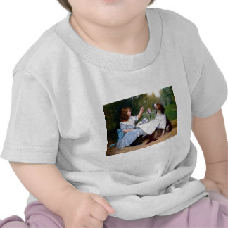 Victorian Girl Pet Dog Table Manners Painting Tees