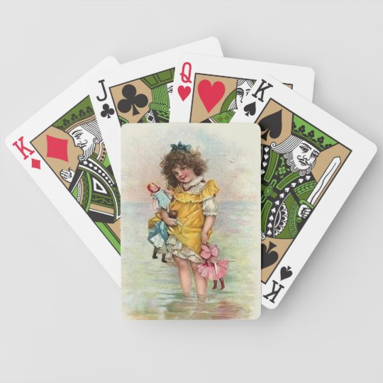 Victorian Girl Playing Cards