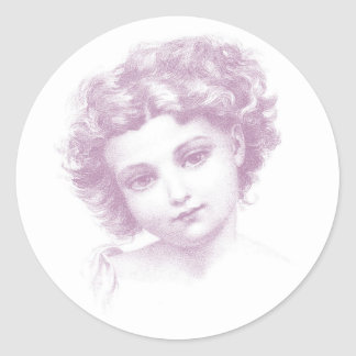 Victorian girl portrait classic round sticker