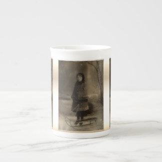 Victorian Girl Portrait With Winter Sled Tea Cup