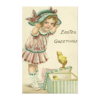 Victorian Girl Present Easter Chick Canvas Print