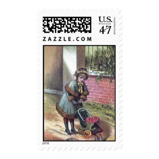 Victorian Girl Pushing Stroller Postage
