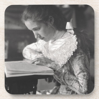 Victorian girl reading a book beverage coaster
