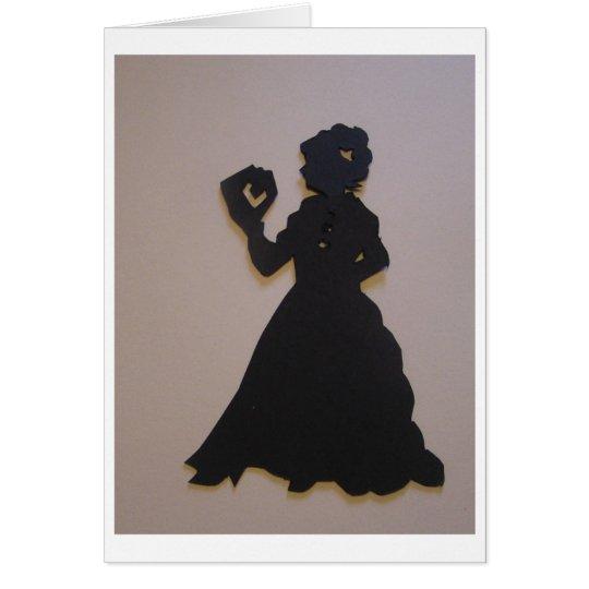 Victorian girl reading a book card