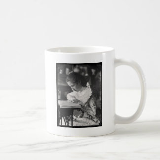 Victorian girl reading a book coffee mug