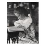 Victorian girl reading a book postcard