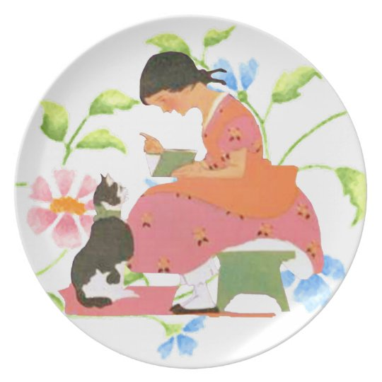 VICTORIAN GIRL READING TO HER CAT Plate
