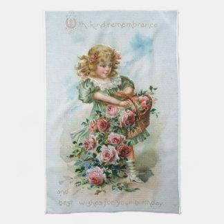 Victorian Girl Roses Birthday Antique Towel