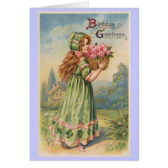 Victorian girl roses vintage birthday card