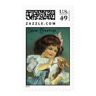 Victorian Girl Scolding Easter Bunny Antique Card Postage Stamps