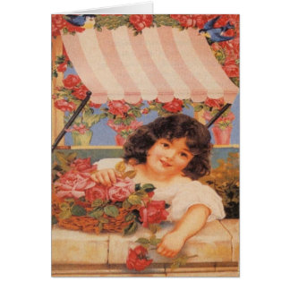 Victorian Girl Selling Flowers Greeting Cards