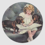 Victorian Girl Story Book Time Stickers Seals