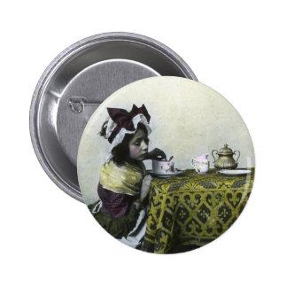 Victorian Girl Tea Time Vintage Magic Lantern 2 Inch Round Button
