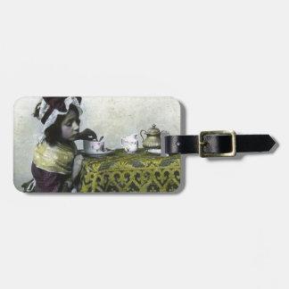 Victorian Girl Tea Time Vintage Magic Lantern Bag Tag