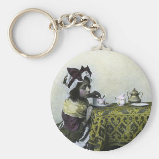Victorian Girl Tea Time Vintage Magic Lantern Basic Round Button Keychain