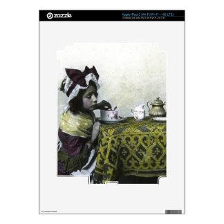 Victorian Girl Tea Time Vintage Magic Lantern iPad 3 Decals