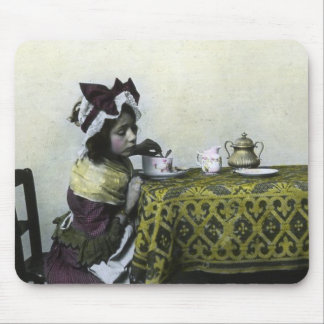 Victorian Girl Tea Time Vintage Magic Lantern Mouse Pad