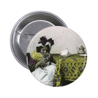 Victorian Girl Tea Time with Kitty Vintage Pinback Button