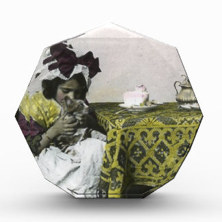Victorian Girl Teat Time with Kitty Vintage Acrylic Award
