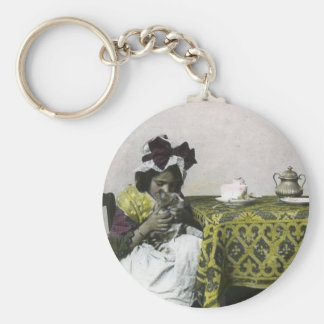 Victorian Girl Teat Time with Kitty Vintage Basic Round Button Keychain