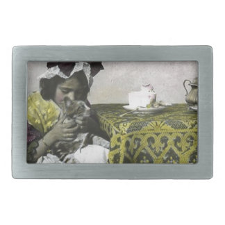 Victorian Girl Teat Time with Kitty Vintage Belt Buckle