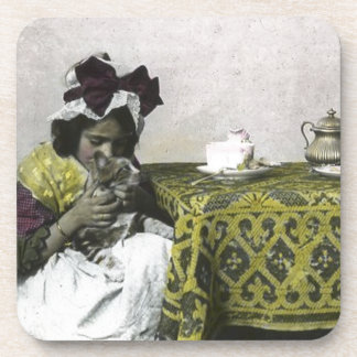 Victorian Girl Teat Time with Kitty Vintage Coaster