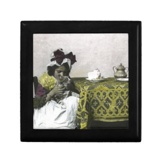 Victorian Girl Teat Time with Kitty Vintage Gift Box