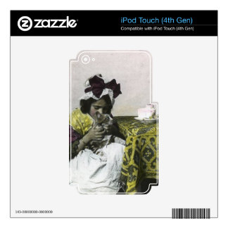 Victorian Girl Teat Time with Kitty Vintage iPod Touch 4G Skins