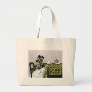 Victorian Girl Teat Time with Kitty Vintage Large Tote Bag