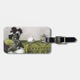 Victorian Girl Teat Time with Kitty Vintage Luggage Tag