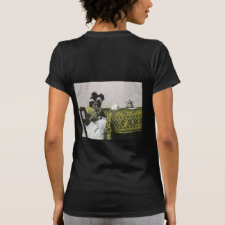 Victorian Girl Teat Time with Kitty Vintage T Shirt