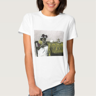 Victorian Girl Teat Time with Kitty Vintage T-shirt
