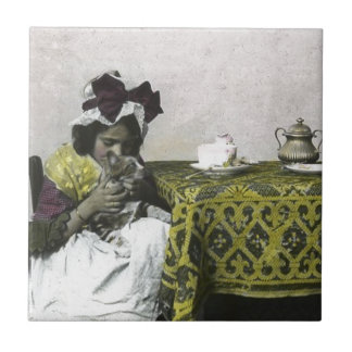 Victorian Girl Teat Time with Kitty Vintage Tile